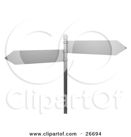 Clipart Illustration of Two Blank Arrow Street Signs On A Post, Over A White Background by KJ Pargeter