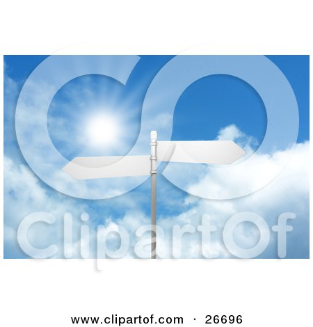 Clipart Illustration of Two Blank Arrow Street Signs On A Post, Over A Cloudy Blue Sky Background With A Burst Of Sunlight by KJ Pargeter