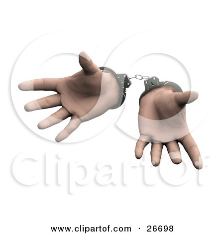 Clipart Illustration of a Pair Of Sprawled Hands Cuffed In Silver Handcuffs, Over A White Background by KJ Pargeter