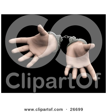 Clipart Illustration of a Pair Of Sprawled Hands Cuffed In Silver Handcuffs, Over A Black Background by KJ Pargeter