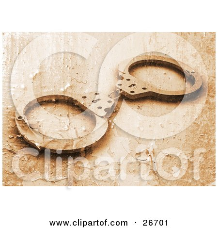Clipart Illustration of a Pair Of Police Handcuffs With A Peeling Paint Texture In Orange Tones by KJ Pargeter