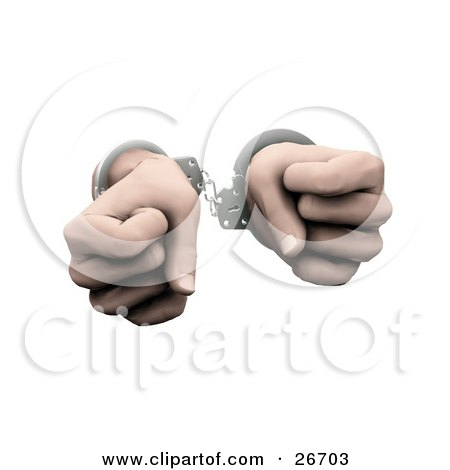 Clipart Illustration of a Pair Of Hands Clenched In Fists And Cuffed In Silver Handcuffs, Over A White Background by KJ Pargeter