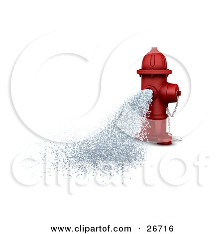 Clipart Illustration of a Red Fire Hydrant Gushing Water Onto The Street by KJ Pargeter