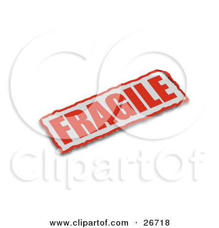 Clipart Illustration of a Red And White Fragile Sticker On A White Background by KJ Pargeter