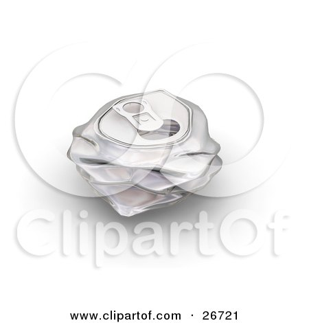 Clipart Illustration of a Crushed Aluminum Soda Can On A White Background by KJ Pargeter