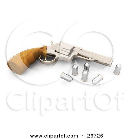 Clipart Illustration of a Wooden Handled Hand Gun Resting Beside Bullets by KJ Pargeter