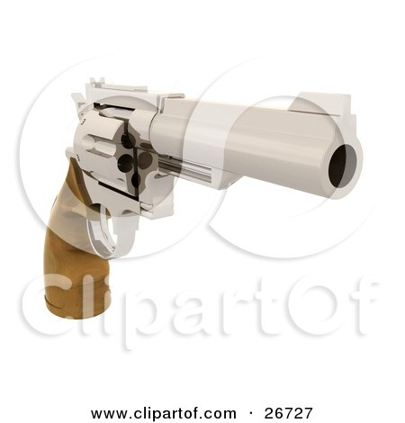 Clipart Illustration of a Wooden Handled Hand Gun Pointing To The Right by KJ Pargeter