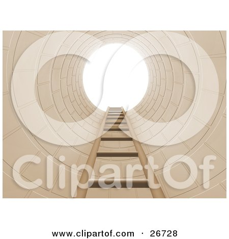 Clipart Illustration of a Ladder Leading Up To Bright Light In A Hole, Symbolizing Opportunity Or Escape by KJ Pargeter