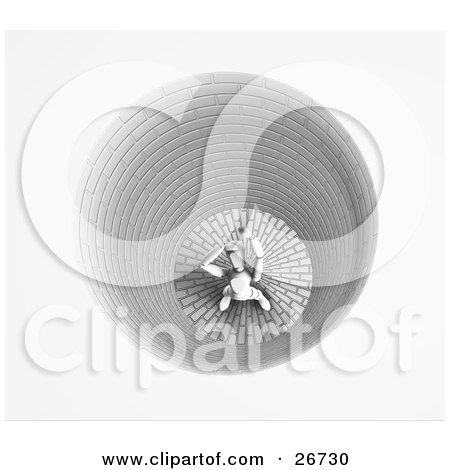 Clipart Illustration of a White Figure Character Yelling Upwards While Trapped Inside A Hole by KJ Pargeter