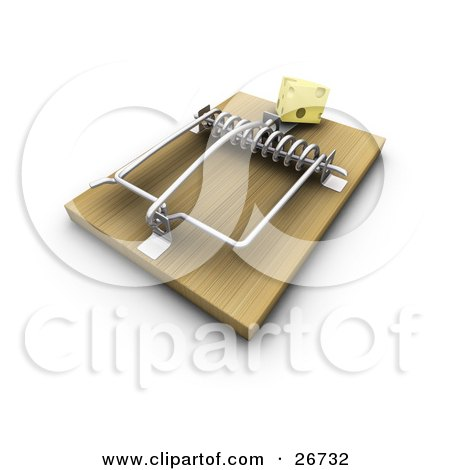 Clipart Illustration of a Slice Of Cheese On A Wooden Mouse Trap, Symbolizing A Trick, On A White Background by KJ Pargeter