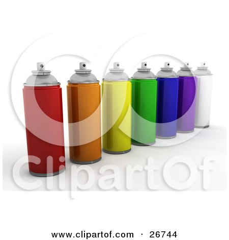 Clipart Illustration of Cans Of Red, Orange, Yellow, Green, Blue, Purple And White Spray Paint, On A White Background by KJ Pargeter