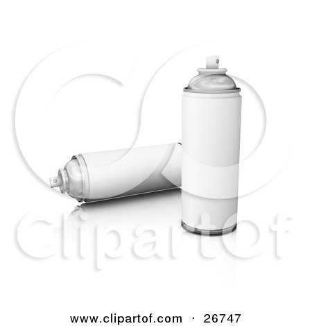 Clipart Illustration of Two Cans Of Spray Paint With Blank White Labels, On A White Background by KJ Pargeter