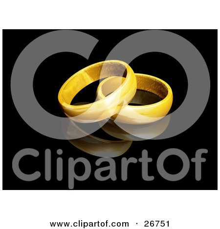 Clipart Illustration of Two Gold Wedding Band Rings Resting Together On A Reflective Black Background by KJ Pargeter