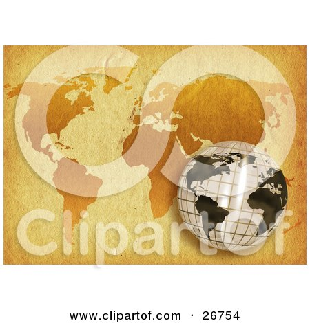 Grid Patterned White And Black Globe Over A World Map On Antique Parchment Paper Posters, Art Prints