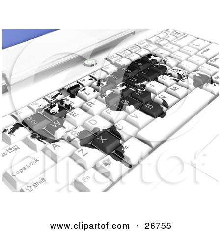 Clipart Illustration of a White Laptop Computer Keyboard With A Black World Map, Symbolizing International Business Or Travel Booking Online by KJ Pargeter