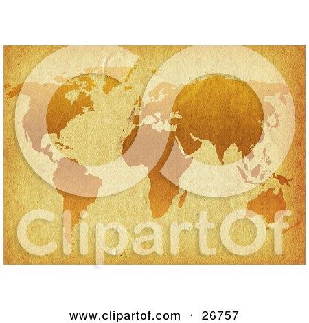 Orange World Map On Antique Parchment Paper Posters, Art Prints