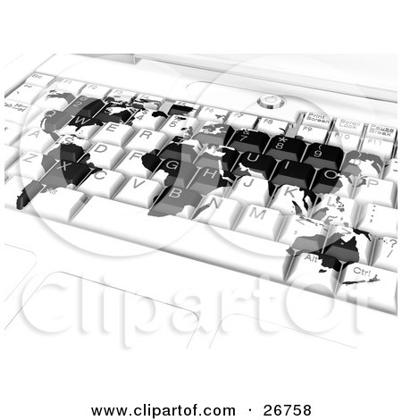 Clipart illustration of a black world map merged on a white laptop clipart illustration of a black world map merged on a white laptop computer keyboard symbolizing international business or travel booking online by kj gumiabroncs Choice Image