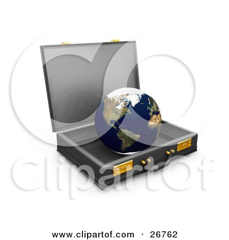 Clipart Illustration of The World Inside An Open Business Briefcase, Symbolizing Opportunities by KJ Pargeter