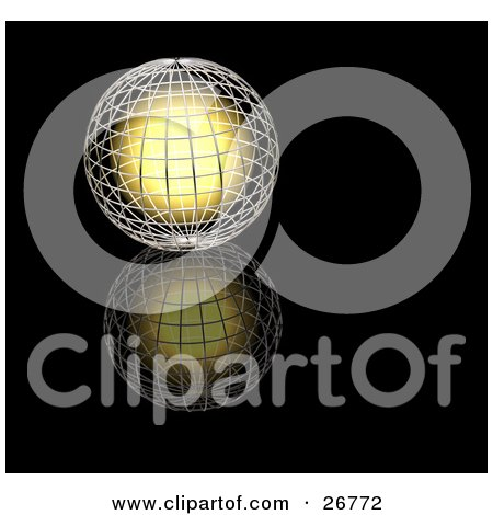 Clipart Illustration of a Bright Golden Light Inside A Silver Wire Globe, Resting On A Reflective Black Surface by KJ Pargeter