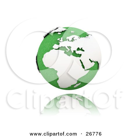 Clipart Illustration of a Green Globe Of Planet Earth With White Continents, Suspended Over A Reflective White Surface by KJ Pargeter