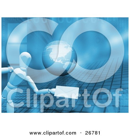Clipart Illustration of a White Figure Character Holding Out An Envelope Over A Blue Background With A Globe, Grid, Binary Code And Cubes by KJ Pargeter