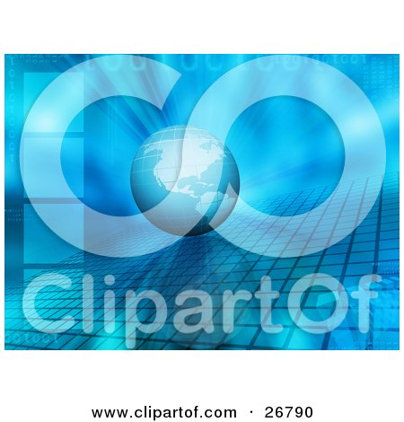 Clipart Illustration of a Blue Grid Earth On Top Of A Grid With A Bursting Background Of Binary Code, Squares And Cubes by KJ Pargeter