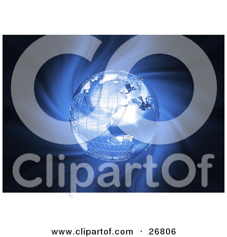 Clipart Illustration of a Metal Wire Frame Globe Of Earth Over A Spiraling Blue And Black Background by KJ Pargeter