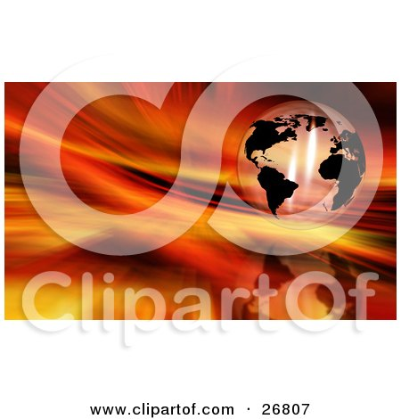 Clipart Illustration of a Transparent Globe With Black Continents, Suspended Over A Reflective Fiery Red And Orange Background by KJ Pargeter