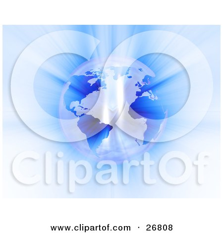 Clipart Illustration of Bright Light Reflecting Off Of A Pearlescent Planet Earth With Blue Continents by KJ Pargeter