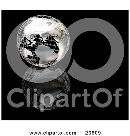 Clipart Illustration of a Chrome Wire Frame Globe Of Earth On A Reflective Black Surface And Background by KJ Pargeter
