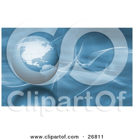 Clipart Illustration of a Blue Globe Of Earth Over A Blurred Background With White Wispy Waves And A Reflective Surface by KJ Pargeter