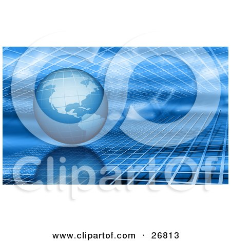 Clipart Illustration of a Blue Planet Earth In Between Two Layers Of Grids by KJ Pargeter
