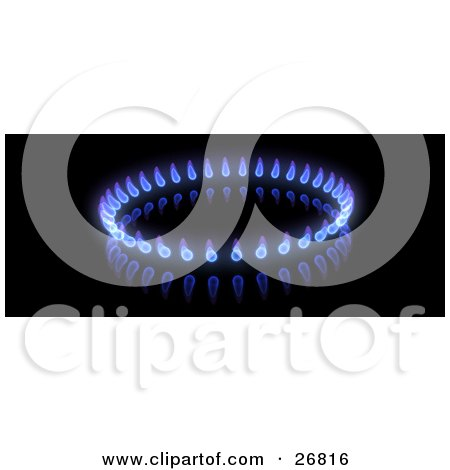 Clipart Illustration of a Circle Of Blue And Purple Gas Flames On A Black Background by KJ Pargeter
