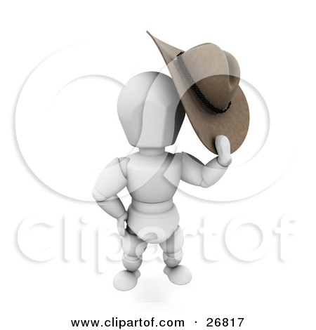 Clipart Illustration of a Western Cowboy White Character Taking Off His Stetson Hat by KJ Pargeter