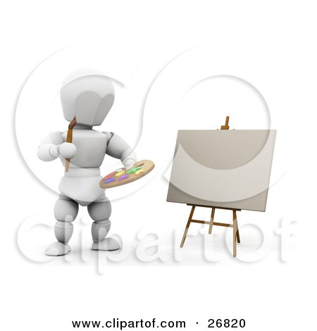 Clipart Illustration of a White Character Holding A Paint Palette And Painting Artwork On Canvas On An Easel by KJ Pargeter