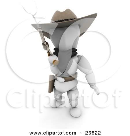 Clipart Illustration of a Western Cowboy Outlaw White Character In A Stetson Hat, Holding A Smoking Pistil by KJ Pargeter