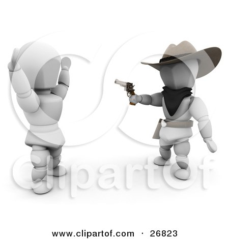 Clipart Illustration of a Western Cowboy Outlaw White Character Pointing A Gun At Someone by KJ Pargeter