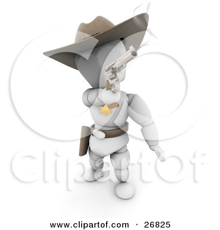 Clipart Illustration of a Western Sheriff White Character In A Stetson Hat, Holding A Smoking Pistil After Shooting After A Criminal by KJ Pargeter