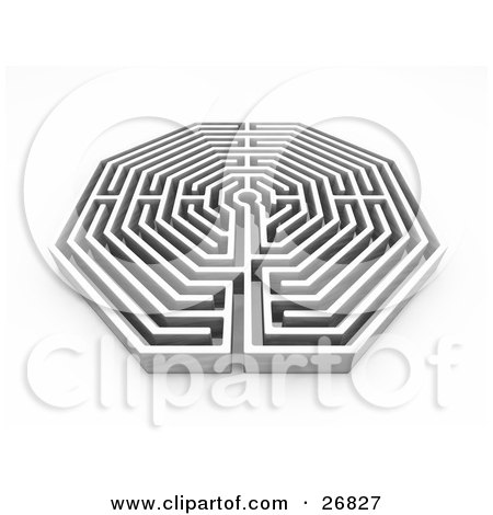 Clipart Illustration of a White Maze Or Labyrinth On A White Background by KJ Pargeter