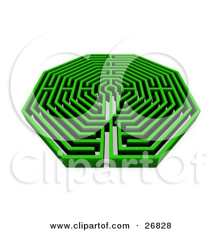 Clipart Illustration of a Green Maze Or Labyrinth On A White Background by KJ Pargeter