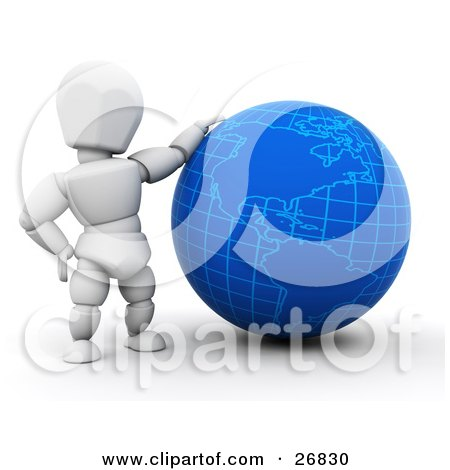 Clipart Illustration of a White Character Resting His Arm On A Blue Globe by KJ Pargeter
