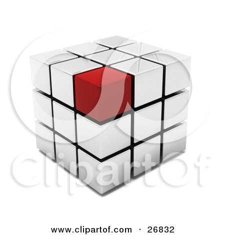 Red Block On The Corner Of A White Puzzle Cube Posters, Art Prints