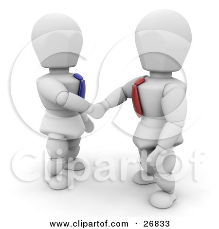 Clipart Illustration of White Characters In Ties, Shaking Hands On A Business Deal by KJ Pargeter
