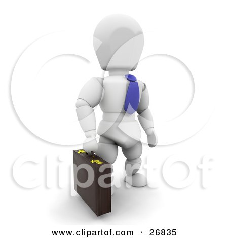 Clipart Illustration of a White Character Businessman In A Blue Tie, Carrying A Briefcase by KJ Pargeter