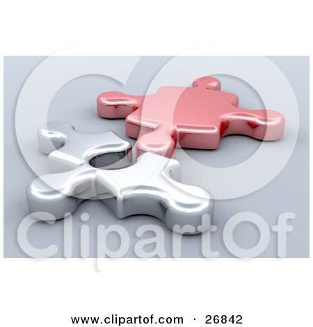 Clipart Illustration of Red And Silver Jigsaw Puzzle Pieces Resting Beside Each Other by KJ Pargeter
