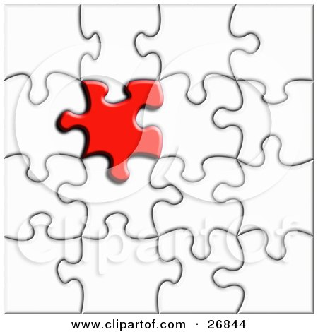Royalty-free clipart picture of a red jigsaw puzzle piece standing out from