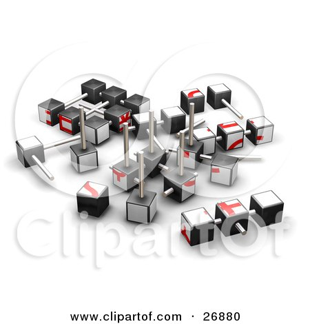 Partially Dissembled Red And White Puzzle Cube Posters, Art Prints