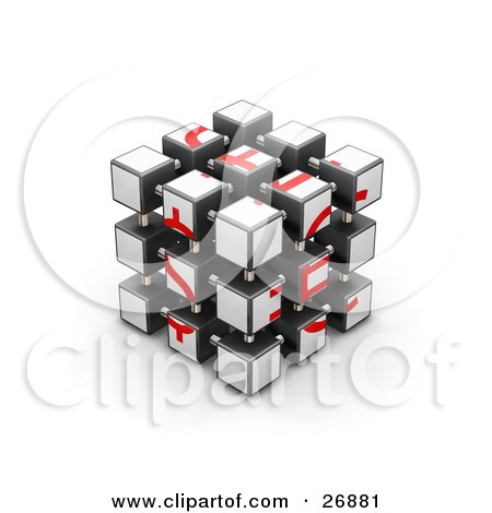 Clipart Illustration of a Fully Assembled Red And White Puzzle Cube by KJ Pargeter