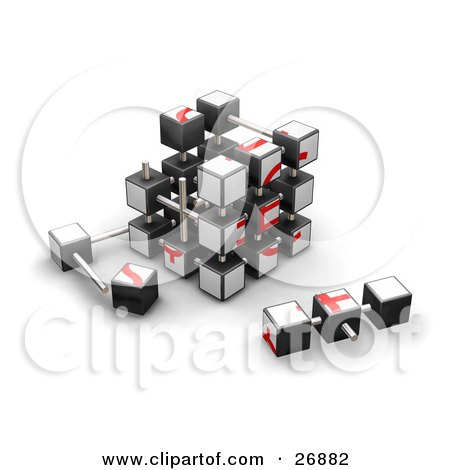 Clipart Illustration of a Partially Assembled Red And White Puzzle Cube by KJ Pargeter