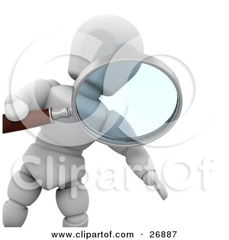 Clipart Illustration of a White Character Peering Through A Magnifying Glass by KJ Pargeter